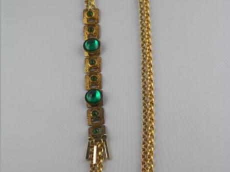 Kelly Green Necklace - Kelly green cabochon and rhinestone bracelet with two goldtone chains.  GP lobster clasp - 27""