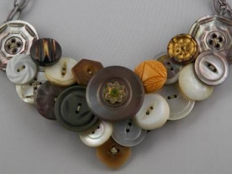 Mother-of-Pearl Button Necklace - Various MOP and plastic buttons in shades of white, gray, tan and burgundy