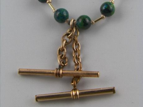 Gold Watch Chain Necklace - Gold watch chain pendant with malachite beads and GF Heishi.  GP lobster clasp - 16""