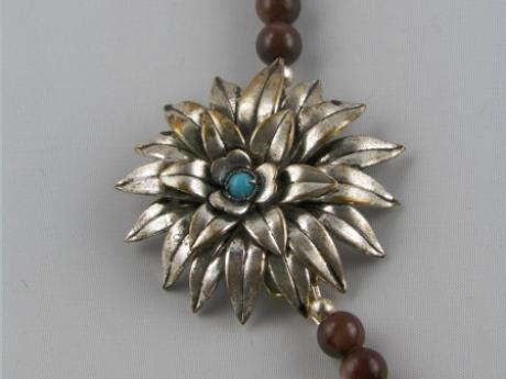 Austrian Flower Necklace - Austrian silver flower pin with brown and teal beads.  SS lobster clasp - 16""