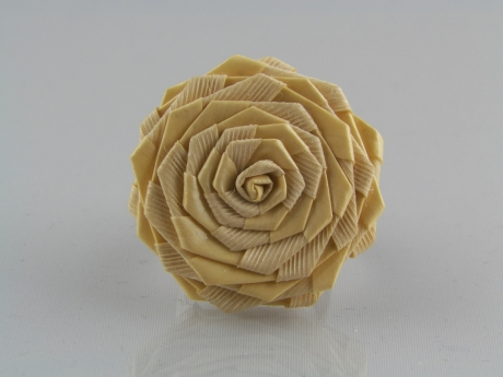 Rose Reed Ring - Folded reeds form a rose with an adjustable size 8 brass tone band..