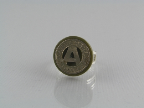 Atlanta Bus Token Ring - Atlanta bus token on gray button with a size 7 adjustable silver tone band. 3/4 inch round
